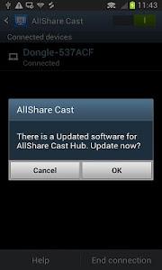 screenshot of AllShareCast Dongle S/W Update version 1.2.3717