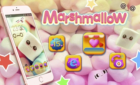 Download Cute Cartoon Marshmallow Comic theme: Candy Skins 3.9.8 APK