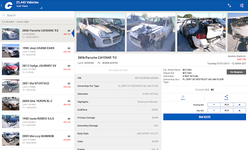 screenshot of Copart – Salvage Car Auctions version 4.4