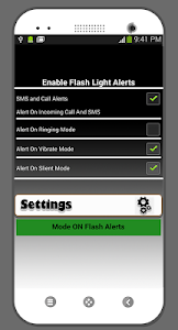 screenshot of Flash Alerts Call & SMS version 1.0.4