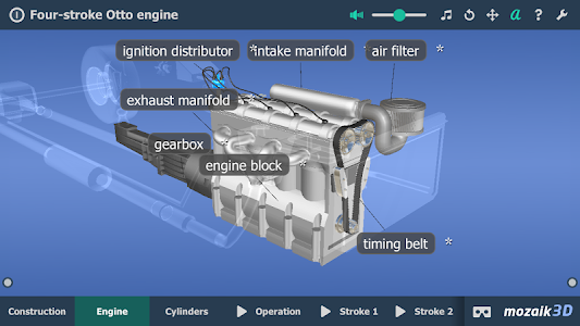 screenshot of Four-stroke Otto engine VR 3D version 1.3