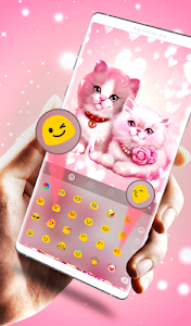 Download Cute Pink Lovely Kitty Cat Keyboard Theme 6.9.14.2018 APK