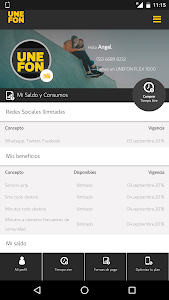 screenshot of Mi Unefon version 1.8