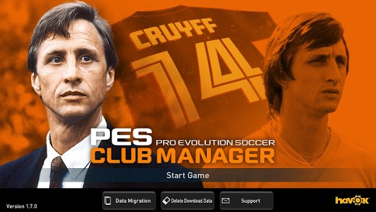 screenshot of PES CLUB MANAGER version 1.7.1