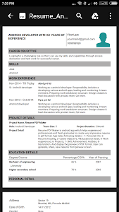 screenshot of Resume PDF Maker / CV Builder version 1.9
