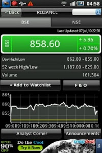 screenshot of Stock Watch: BSE / NSE version 2.6